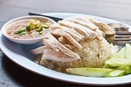 Hainanese chicken rice in Thailand photo