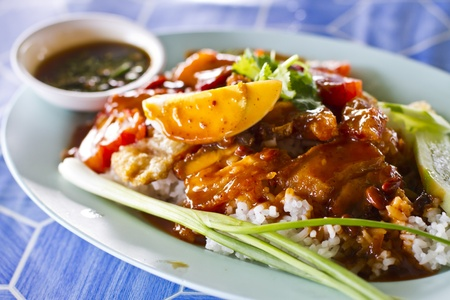 Barbecued pork and crispy pork in red sauce with rice