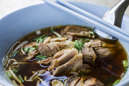 Duck noodle soup in Thailand Stock Photo