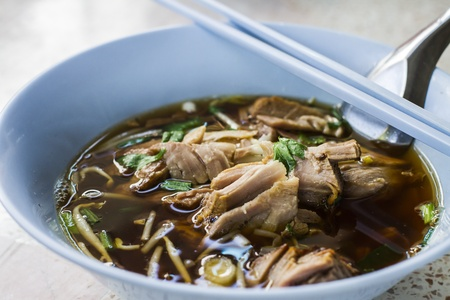Duck noodle soup in Thailand photo