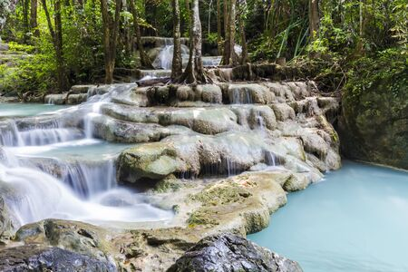 erawan: Erawan waterfall in the Erawan national park Stock Photo
