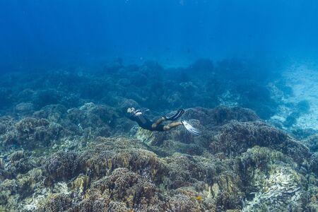 Free diving at Similan national park in Thailand