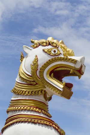 wiwekaram: Thai lion statue at Wiwekaram temple  in Thailand Stock Photo