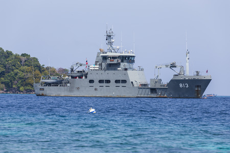 Royal Thai navy ship at Surin national park, Thailand