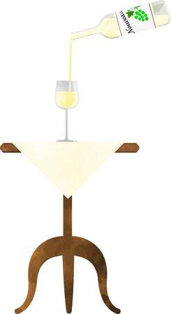 White wine on the table Pour wine into a wine glass, a transparent watercolor illustration Ilustración de vector