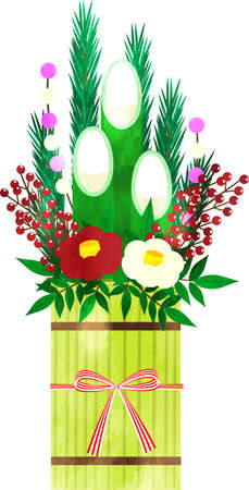 Japanese New Year's decorations Beautifully decorated Kadomatsu watercolor-style illustrations