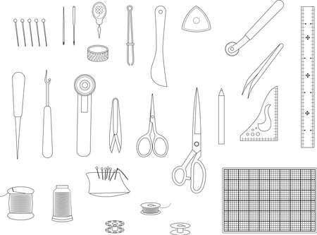 Sewing tool Line drawing set