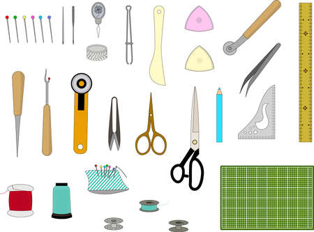 Sewing tool Color illustration set with main line