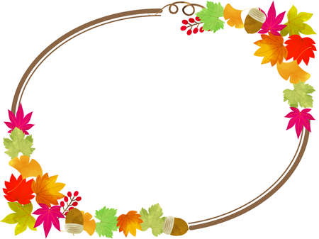 Chic and stylish frame of autumn leaves oval   イラスト・ベクター素材