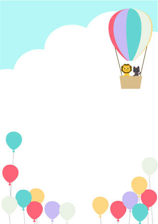 frame with animals in balloons vertically