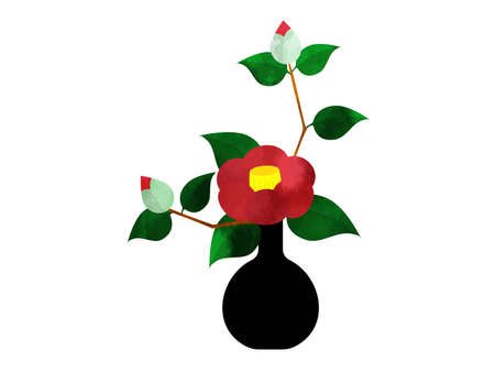 Illustration of red camellia flower in one-wheel insert watercolor style