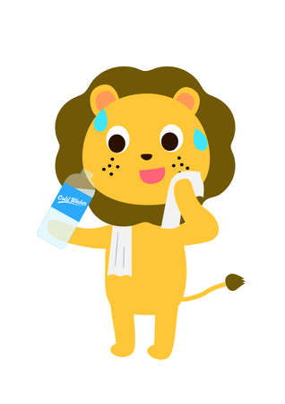 A lion drinks bottle of water while wiping away sweat. Vector Illustratie