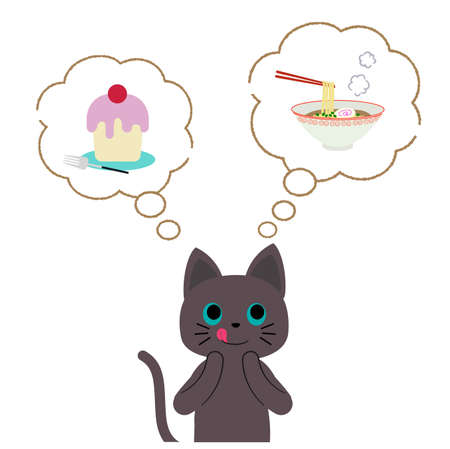 A black cat wondering whether to eat ramen or cake