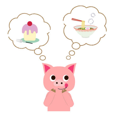 A pig wondering whether to eat ramen or cake