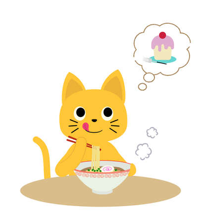A cat that wants to eat dessert after a meal while eating ramen. Vecteurs