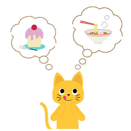 A cat that wants to eat ramen and cake