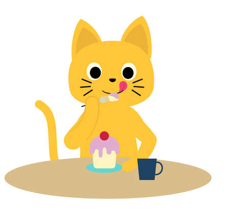 A cat that eats cake deliciously.
