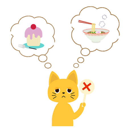 A cat that wants to eat ramen and cake but has to put up with it.