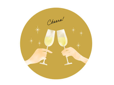 Cheers with Wine Glass Coaster-shaped Illustration