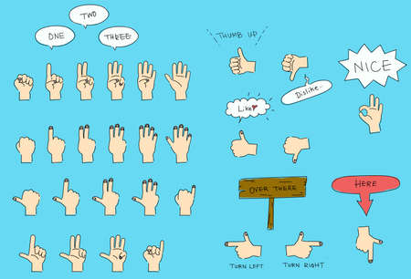 Illustration set of various hand signs and hand gestures