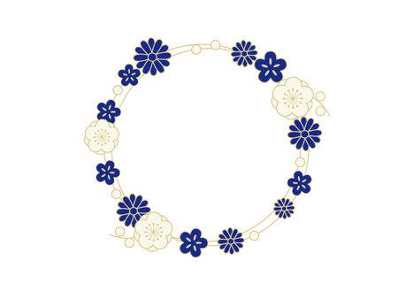 Japanese style Japanese style material flower circular frame Illusztráció