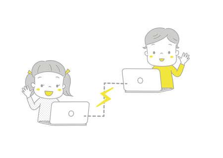 Boys and girls enjoying video calls using a computer