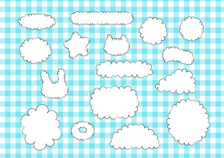 Hand drawn style cloud callout frame icon set white