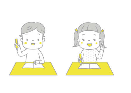 A boy and a girl who seem to be happy to learn