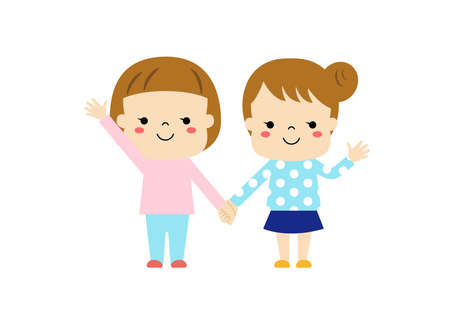 Two girls holding hands and waving