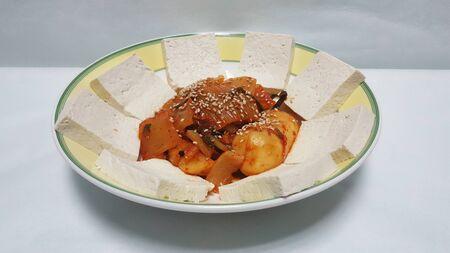 spicy and delicious tofu kimchi dish