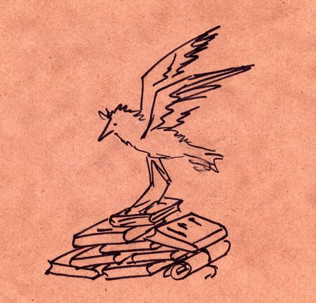 Graphic drawing of a black liner bird sitting on a stack of books and scrolls Stock Photo