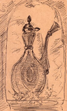 graphic drawing vintage jug on a texture brown background