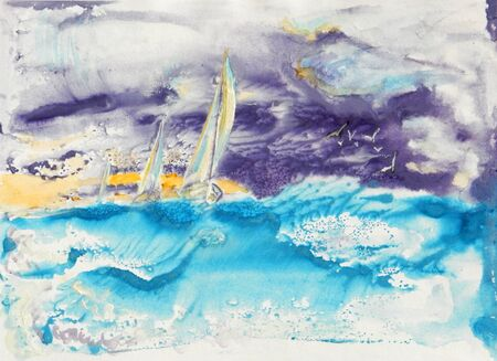 Watercolor abstract full color drawing. Yachts during a regatta between surging waves and a stormy sky.