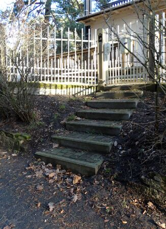 steps leading to the gate and fence of the house in early spring