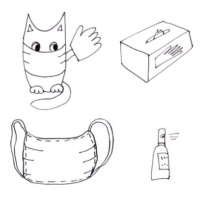 linear black drawing cat in mask and gloves advertises anti-epidemic means - gloves, mask, sanitizer