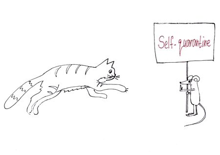 self-quarantine. black and white graphic picture cat runs after the mouse, mouse holds a poster with a lettering.