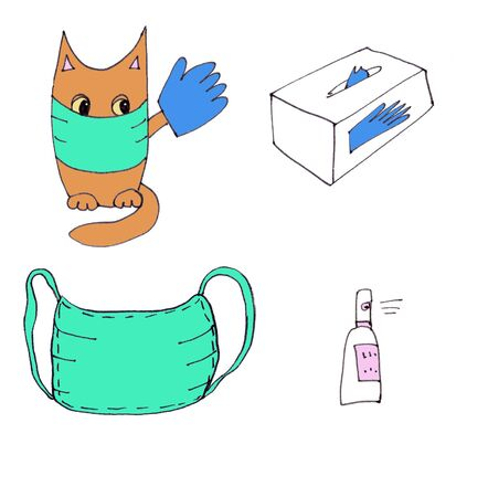 color drawing cat in mask and glove with advertises anti-epidemic means - gloves, mask, sanitizer