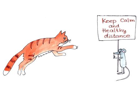keep calm and socially distance. color graphic picture cat runs after the mouse, mouse holds a poster with a lettering.