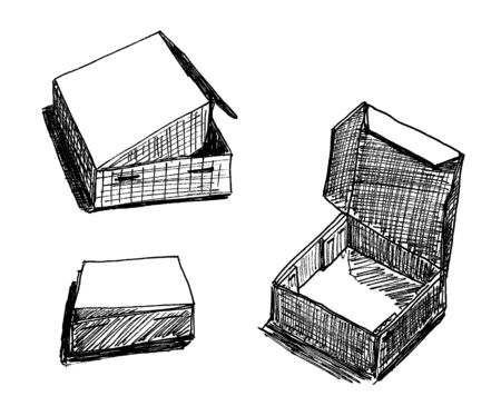 set of black and white box graphic images on a white background