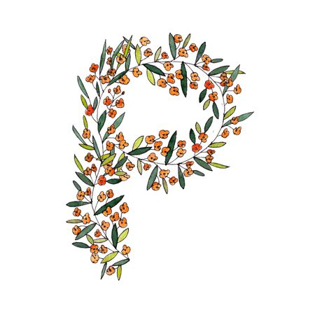 letter P of the english and latin floral alphabet. a colorful graphic on a white background. letter P of sprigs blooming with orange flowers.