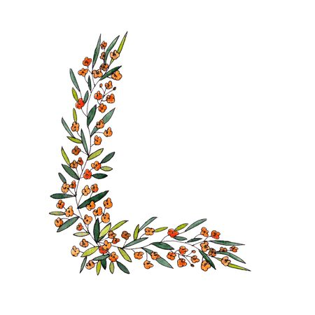 letter L of the english and latin floral alphabet. a colorful graphic on a white background. letter L of sprigs blooming with orange flowers.