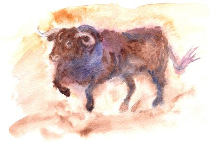 a spanish bull digs a hoofed ground in an arena during a bullfight in Spain, a watercolor drawing. High quality illustration Banque d'images