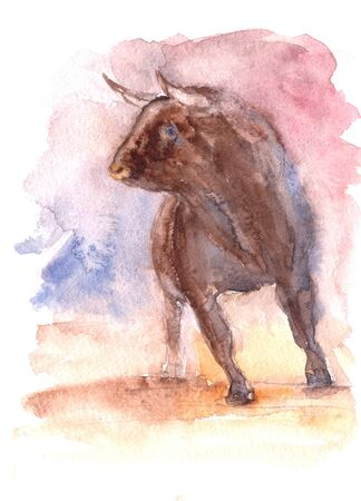 a spanish bull in an arena during a bullfight in Spain, a watercolor drawing. High quality illustration