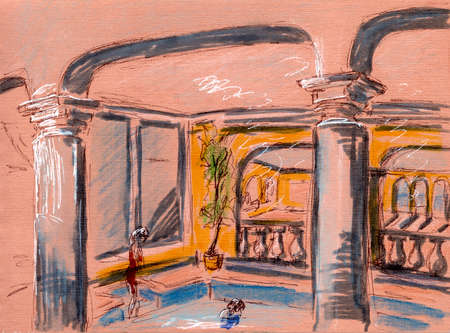 graphic color pattern, travel sketch, interior of the swimming pool