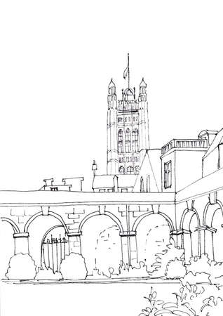 Westminster abbey courtyard and Parliament tower, London, UK, graphic black and white drawing, travel sketch