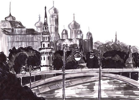 panoramic view of the Moscow kremlin, graphic black and white pattern, travel sketch. High quality illustration