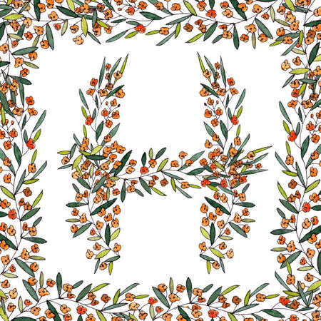 letter H of the english and latin floral alphabet. graphic in square frame on a white background. letter H of sprigs blooming with orange flowers.