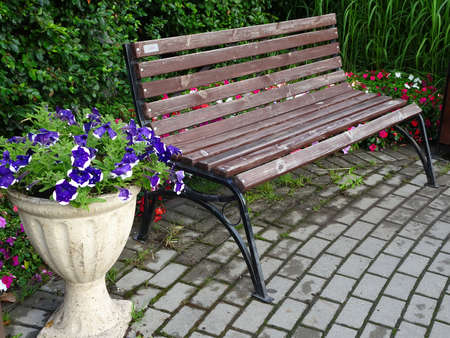 wooden bench and stone vase with flowers on a paved walkway 免版税图像