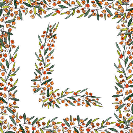 letter L of the english and latin floral alphabet. colorful graphic in square frame on a white background. letter L of sprigs blooming with orange flowers.