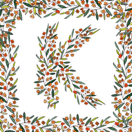 letter K of the english and latin floral alphabet. colorful graphic in square frame on a white background. letter K of sprigs blooming with orange flowers.